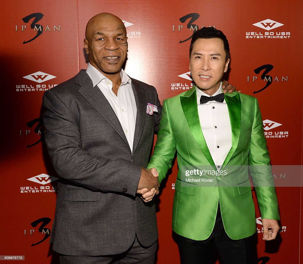 Actors Mike Tyson and Donnie Yen attend the Los Angeles Premiere of Well Go USA Entertainment's 'IP MAN 3' at The Grove on January 20 2016 in Los...