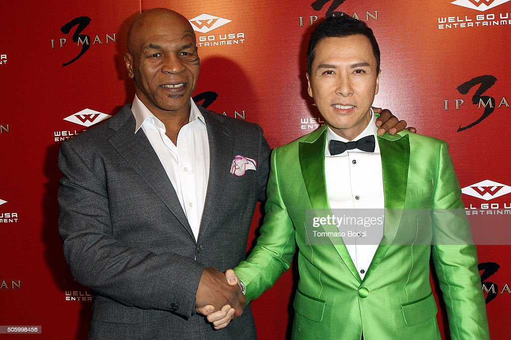 Actors Mike Tyson and Donnie Yen attend the premiere of Well Go USA Entertainment's 'Ip Man 3' held at Pacific Theatres at The Grove on January 20...