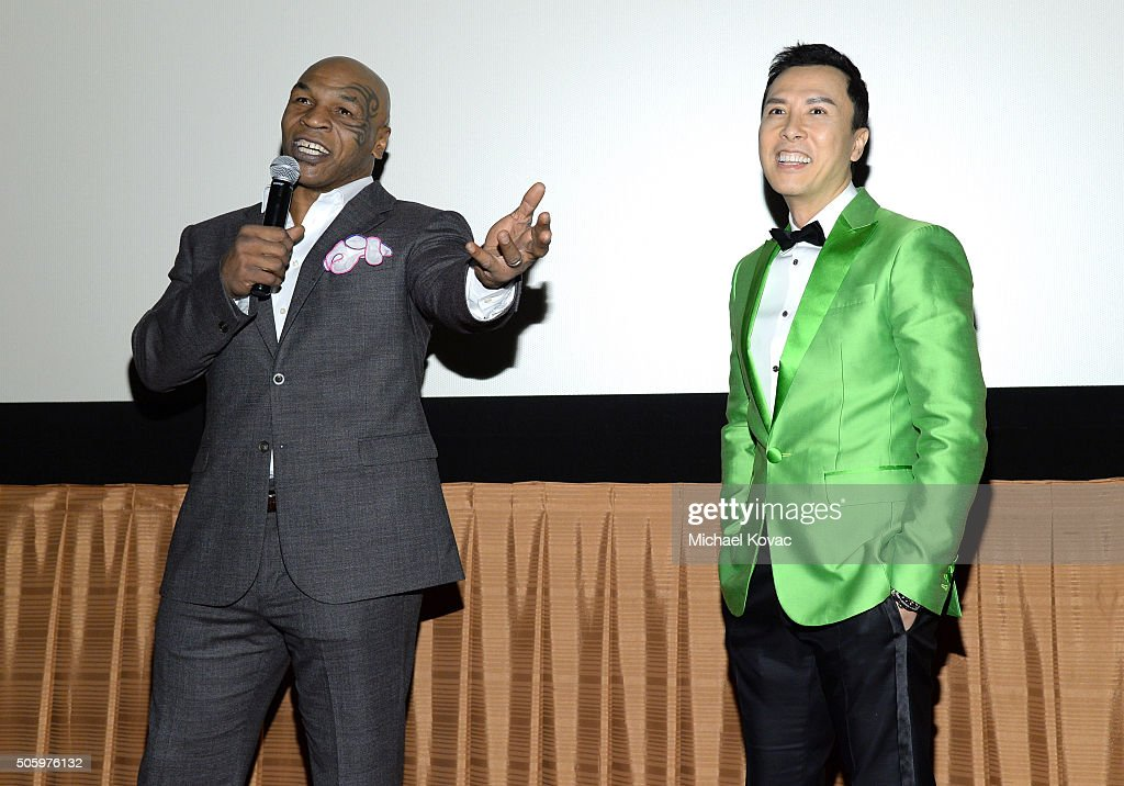 Actors Mike Tyson and Donnie Yen introduce the Los Angeles Premiere of Well Go USA Entertainment's 'IP MAN 3' at The Grove on January 20 2016 in Los...