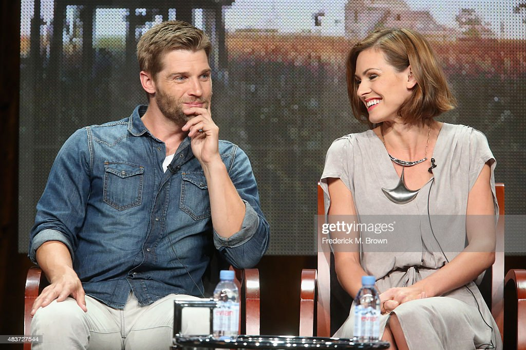 Actors Mike Vogel and Daisy Betts speak onstage during the Syfy Networks' 'Childhood's End' panel discussion at the NBCUniversal portion of the 2015 Summer TCA Tour at The Beverly Hilton Hotel on August 12, 2015 in Beverly Hills, California.