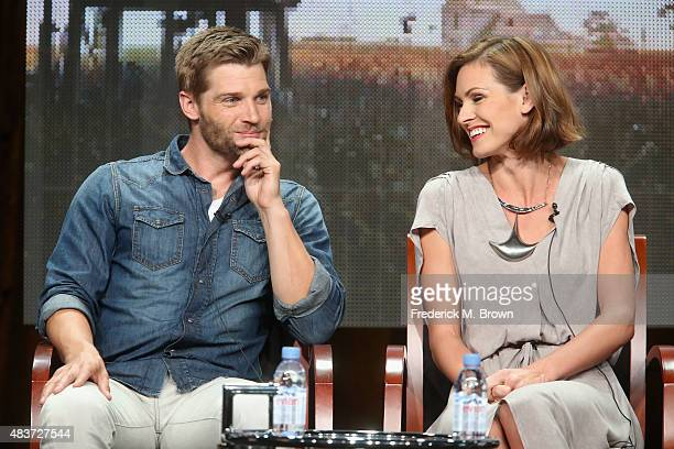 Actors Mike Vogel and Daisy Betts speak onstage during the Syfy Networks' 'Childhood's End' panel discussion at the NBCUniversal portion of the 2015...