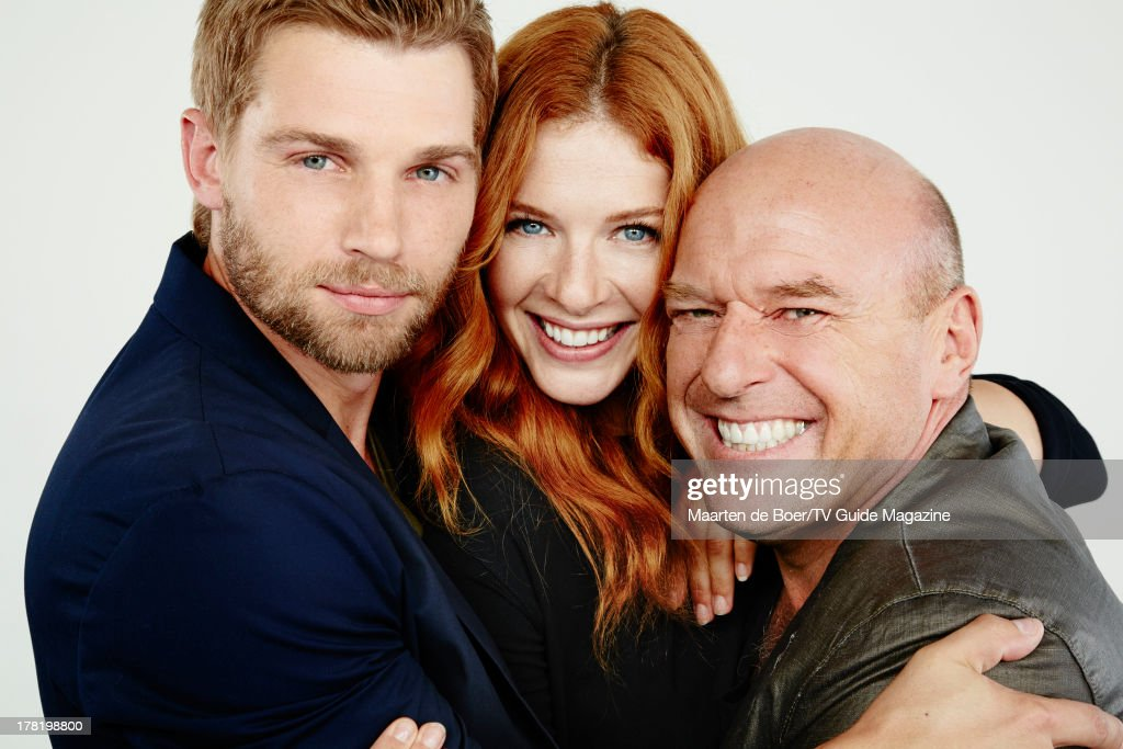 Actors Mike Vogel, Rachelle Lefevre and Dean Norris are photographed for TV Guide Magazine on July 20, 2013 on the TV Guide Magazine Yacht in San Diego, California. PUBLISHED IMAGE.