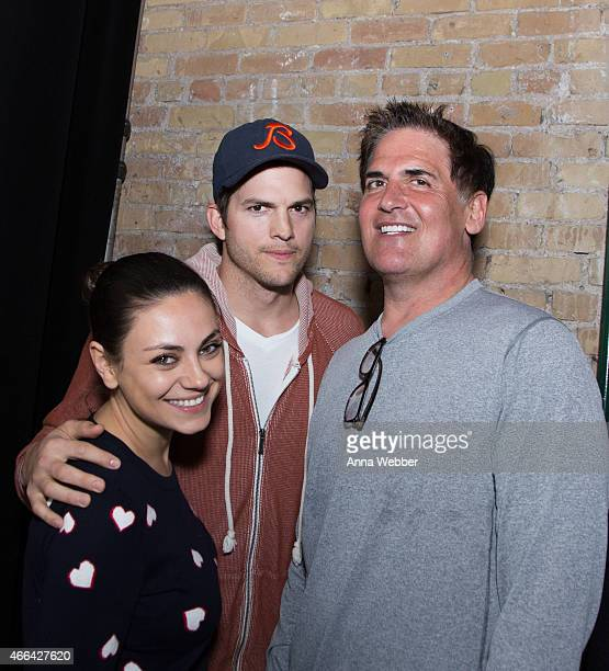 Actors Mila Kunis Ashton Kutcher and Investor/Entrepreneur Mark Cuban attend The Launch Of Ashton Kutcher Guy Oseary's Sound Ventures At SXSW on...