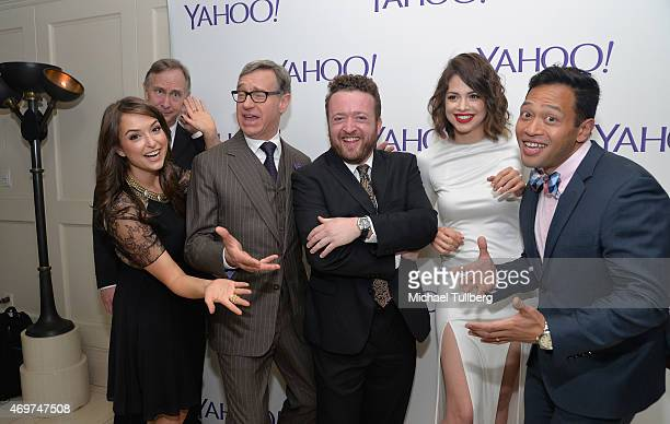 Actors Milana Vayntrub and Trace Beaulieu producer Paul Feig and actors Neil Casey Conor Leslie and Eugene Cordero attend the launch party for Yahoo...