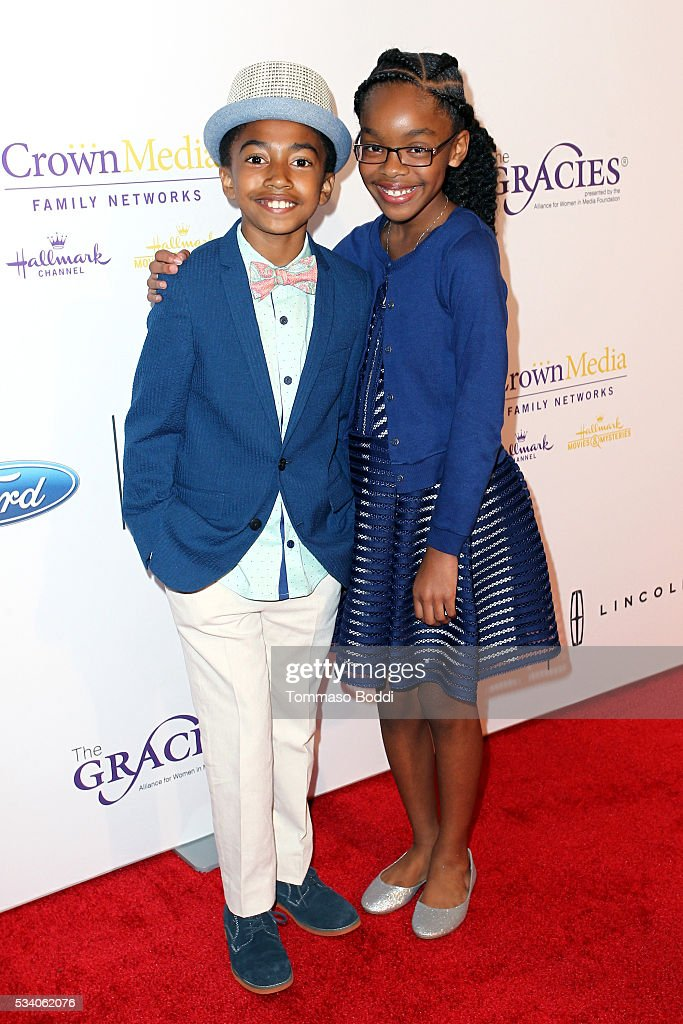 Actors <a gi-track='captionPersonalityLinkClicked' href=/galleries/search?phrase=Miles+Brown&family=editorial&specificpeople=6931307 ng-click='$event.stopPropagation()'>Miles Brown</a> (L) and <a gi-track='captionPersonalityLinkClicked' href=/galleries/search?phrase=Marsai+Martin&family=editorial&specificpeople=12819653 ng-click='$event.stopPropagation()'>Marsai Martin</a> attend the 41st Annual Gracie Awards at Regent Beverly Wilshire Hotel on May 24, 2016 in Beverly Hills, California.
