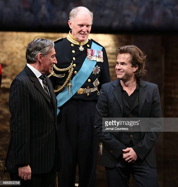 Actors Miles Richardson Tim PigottSmith and director Rupert Goold take a bow during curtain call for the Broadway Opening Night of 'King Charles III'...