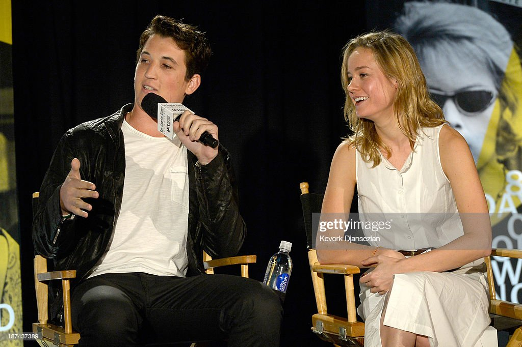Actors Miles Teller and Brie Larson attend The Los Angeles Times Young Hollywood Roundtable during AFI FEST 2013 presented by Audi at TCL Chinese Theatre on November 8, 2013 in Hollywood, California.
