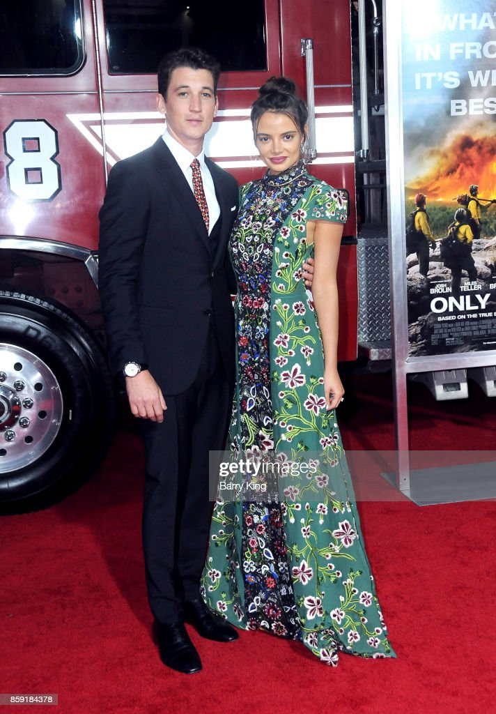 Actors Miles Teller and Keleigh Sperry attend the premiere of Columbia Pictures' 'Only The Brave' at Regency Village Theatre on October 8, 2017 in Westwood, California.