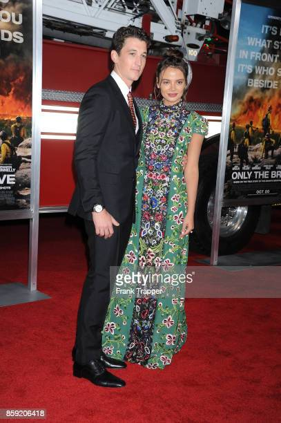 Actors Miles Teller and Keleigh Sperry attend the premiere of Columbia Pictures' 'Only The Brave' at the Regency Village Theatre on October 8 2017 in...