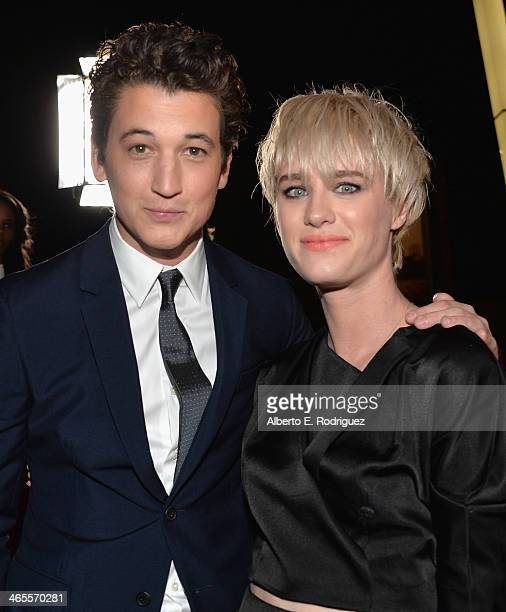 Actors Miles Teller and Mackenzie Davis arrive to the premiere of Focus Features' 'That Awkward Moment' at Regal Cinemas LA Live on January 27 2014...
