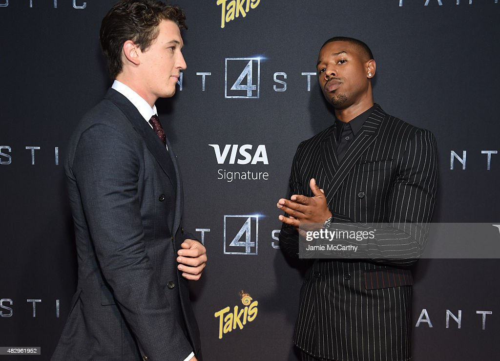 Actors Miles Teller and Michael B Jordan attend the New York premiere of 'Fantastic Four' at Williamsburg Cinemas on August 4 2015 in New York City