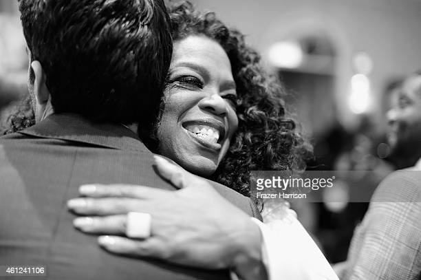 Actors Miles Teller and Oprah Winfrey attend the 15th Annual AFI Awards at Four Seasons Hotel Los Angeles at Beverly Hills on January 9 2015 in...