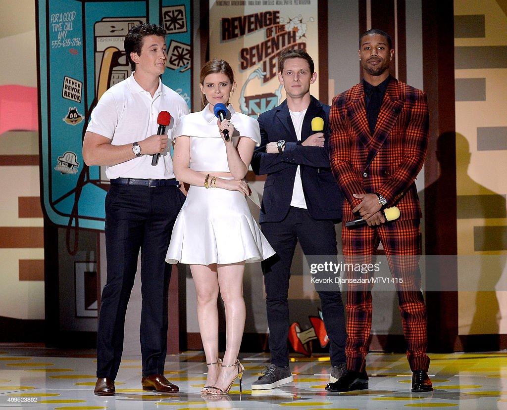 Actors Miles Teller Kate Mara Jamie Bell and Michael B Jordan speak onstage during The 2015 MTV Movie Awards at Nokia Theatre LA Live on April 12...