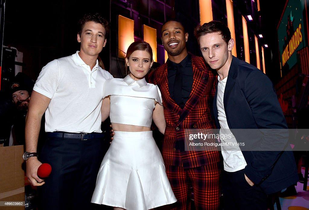 Actors Miles Teller Kate Mara Michael B Jordan and Jamie Bell attend The 2015 MTV Movie Awards at Nokia Theatre LA Live on April 12 2015 in Los...