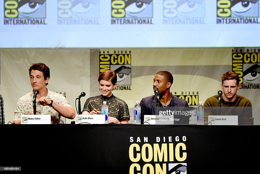Actors Miles Teller, Kate Mara, Michael B. Jordan and Jamie Bell speak onstage at the 20th Century FOX panel during Comic-Con International 2015 at the San Diego Convention Center on July 11, 2015 in San Diego, California.