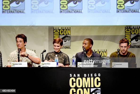 Actors Miles Teller Kate Mara Michael B Jordan and Jamie Bell speak onstage at the 20th Century FOX panel during ComicCon International 2015 at the...