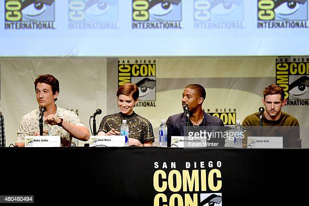 Actors Miles Teller Kate Mara Michael B Jordan and Jamie Bell speak onstage at the 20th Century FOX panel during ComicCon International 2015 at the...