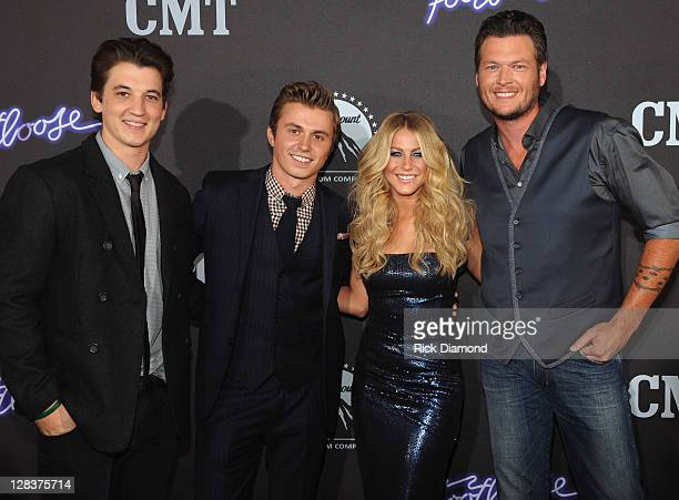 Actors Miles Teller Kenny Wormald Julianne Hough with Recording Artist Blake Shelton attend FOOTLOOSE Nashville screening on October 6 2011 in...