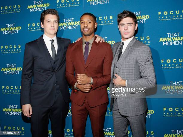Actors Miles Teller Michael B Jordan and Zac Efron attend the 'That Awkward Moment' screening at Sunshine Landmark on January 22 2014 in New York City