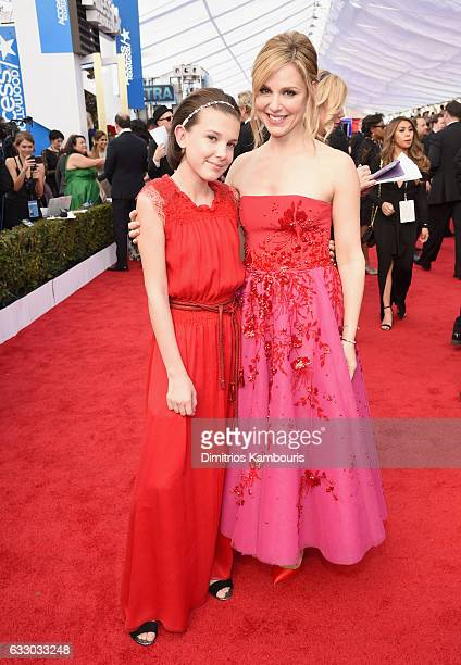 Actors Millie Bobby Brown and Cara Buono attend The 23rd Annual Screen Actors Guild Awards at The Shrine Auditorium on January 29 2017 in Los Angeles...