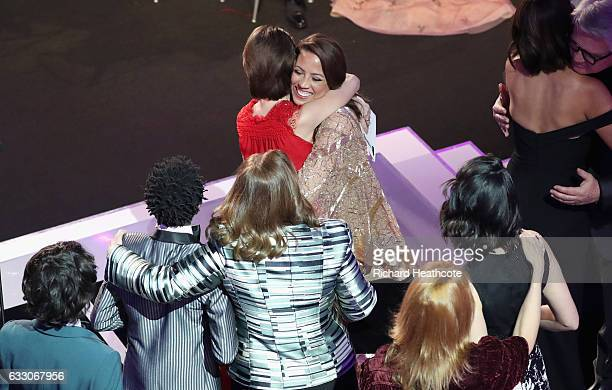 Actors Millie Bobby Brown and Elizabeth Rodriguez on stage during The 23rd Annual Screen Actors Guild Awards at The Shrine Auditorium on January 29...