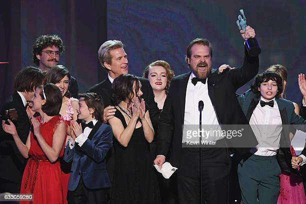 Actors Millie Bobby Brown Natalia Dyer John Paul Reynolds Noah Schnapp Winona Ryder Matthew Modine Shannon Purser David Harbour and Finn Wolfhard of...