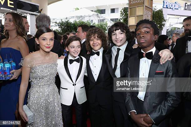 Actors Millie Bobby Brown Noah Schnapp Gaten Matarazzo Finn Wolfhard and Caleb McLaughlin at the 74th annual Golden Globe Awards sponsored by FIJI...