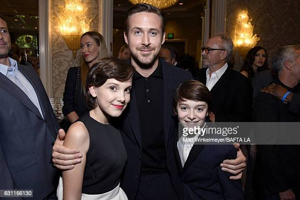 Actors Millie Bobby Brown Ryan Gosling and Noah Schnapp attend The BAFTA Tea Party at Four Seasons Hotel Los Angeles at Beverly Hills on January 7...