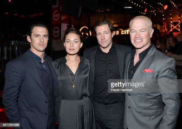 Actors Milo Ventimiglia Alexa Davalos Ed Burns and Neal McDonough attend TNT's 'Mob City' Screening after party at Emerson Theatre on November 21...