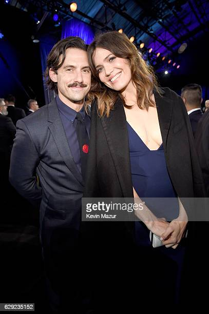 Actors Milo Ventimiglia and Mandy Moore attend The 22nd Annual Critics' Choice Awards at Barker Hangar on December 11 2016 in Santa Monica California