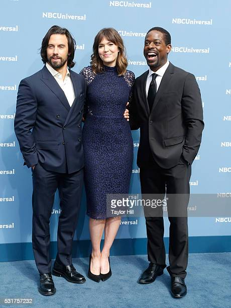 Actors Milo Ventimiglia Mandy Moore and Sterling K Brown of 'This is Us' on NBC attend the NBCUniversal 2016 Upfront on May 16 2016 in New York New...