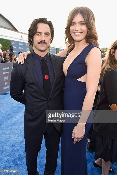 Actors Milo Ventimiglia Mandy Moore attend The 22nd Annual Critics' Choice Awards at Barker Hangar on December 11 2016 in Santa Monica California