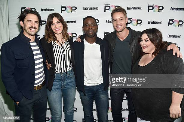 Actors Milo Ventimiglia Mandy Moore Sterling K Brown Justin Hartley and Chrissy Metz pose backstage during Entertainment Weekly's PopFest at The Reef...