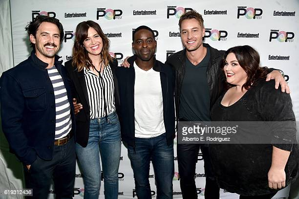 Actors Milo Ventimiglia Mandy Moore Sterling K Brown Justin Hartley and Chrissy Metz pose backstage during the 'This Is Us' panel at Entertainment...