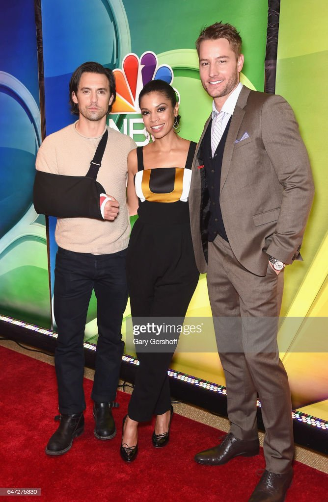 Actors Milo Ventimiglia, Susan Kelechi Watson and Justin Hartley attend the NBCUniversal Press Junket at the Four Seasons Hotel New York on March 2, 2017 in New York City.