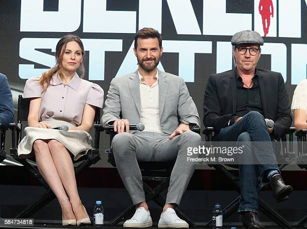 Actors Mina Tander Richard Armitage and Rhys Ifans speak onstage during the 'Berlin Station' panel discussion at the EPIX portion of the 2016...