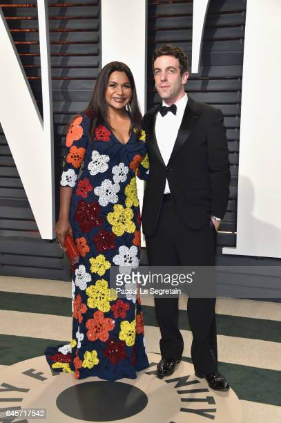 Actors Mindy Kaling and B J Novak attend the 2017 Vanity Fair Oscar Party hosted by Graydon Carter at Wallis Annenberg Center for the Performing Arts...
