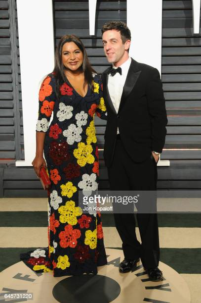 Actors Mindy Kaling and BJ Novak attend the 2017 Vanity Fair Oscar Party hosted by Graydon Carter at Wallis Annenberg Center for the Performing Arts...
