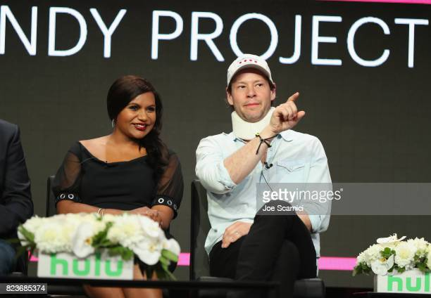 Actors Mindy Kaling and Ike Barinholtz speak onstage during Summer TCA at The Beverly Hilton Hotel on July 27 2017 in Beverly Hills California