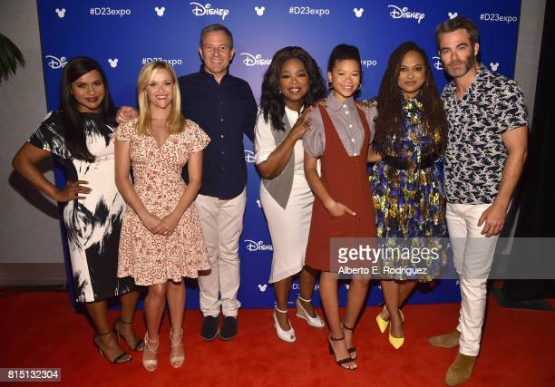 Actors Mindy Kaling and Reese Witherspoon of A WRINKLE IN TIME The Walt Disney Company CEO Bob Iger actors Oprah Winfrey and Storm Reid director Ava...