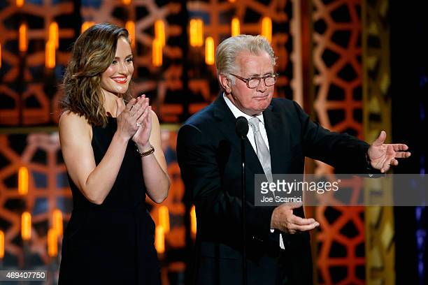 Actors Minka Kelly and Martin Sheen speak onstage during the 2015 TV Land Awards at Saban Theatre on April 11 2015 in Beverly Hills California