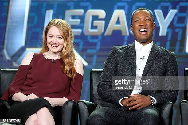 Actors Miranda Otto and Corey Hawkins of the television show '24 Legacy' speak onstage during the FOX portion of the 2017 Winter Television Critics...