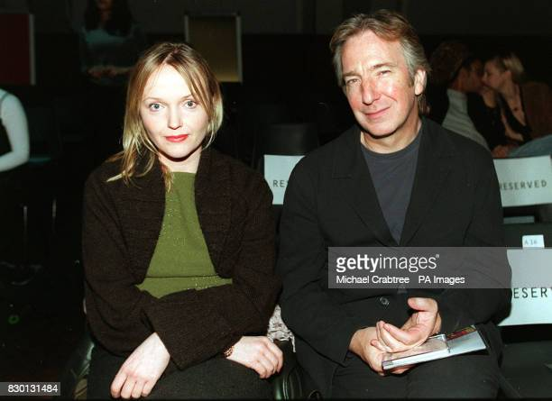 Actors Miranda Richardson and Alan Rickman at the John Richmond fashion show at the Royal Horticultural Halls in London during Men's Fashion Week