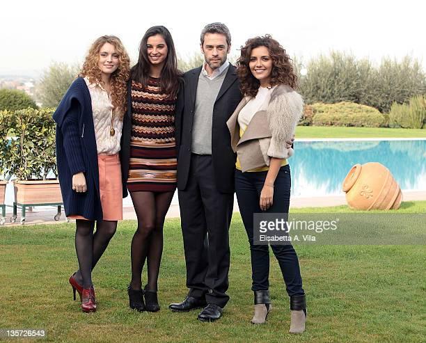 Actors Miriam Dalmazio Francesca Chillemi Massimo Poggio and Serena Rossi attend 'Che Dio Ci Aiuti' TV Series RAI photocall at Antico Tiro Al Volo on...