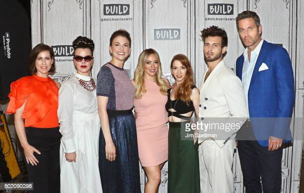Actors Miriam Shor Debi Mazar Sutton Foster Hilary Duff Molly Bernard Nico Tortorella and Peter Hermann attend Build to discuss 'Younger' at Build...