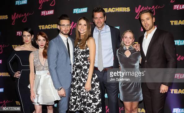 Actors Miriam Shor Molly Bernard Nico Tortorella Sutton Foster Peter Hermann Tessa Albertson and Dan Amboyer attend the 'Younger' season 2 and...