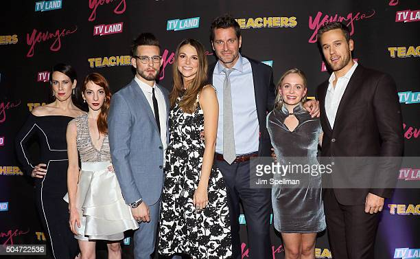 Actors Miriam Shor Molly Bernard Nico Tortorella Sutton Foster Peter Hermann Tessa Albertson and Dan Amboyer attend the 'Younger' season 2 and...
