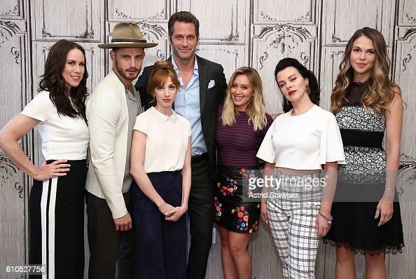 Actors Miriam Shor Nico Tortorella Molly Bernard Peter Hermann Hilary Duff Debi Mazar and Sutton Foster attend The Build Series Presents The Cast Of...