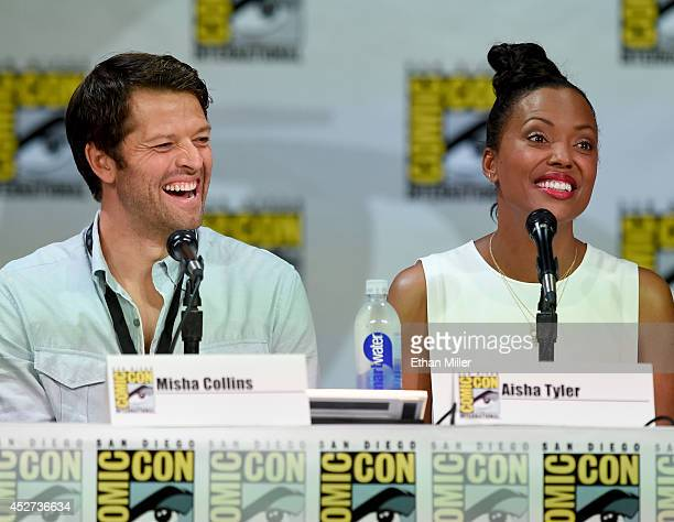 Actors Misha Collins and Aisha Tyler attend the TV Guide Magazine Fan Favorites panel during ComicCon International 2014 at the San Diego Convention...