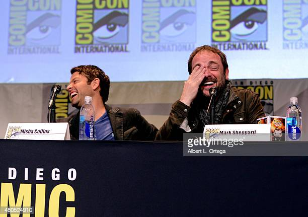 Actors Misha Collins and Mark Sheppard speak onstage at the 'Supernatural' panel during ComicCon International 2015 at the San Diego Convention...